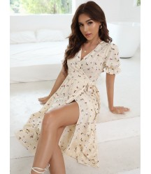 Allover Floral Wrap Knot Dress