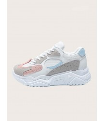 Lace-up Front Mesh Panel Sneakers