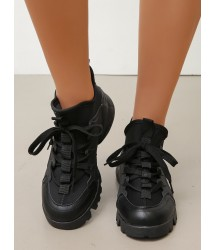 Minimalist Lace Up Decor Sneakers