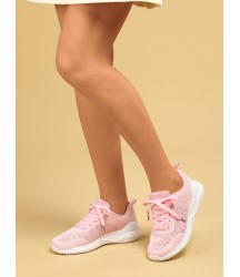 Minimalist Lace-up Front Knit Running Shoes