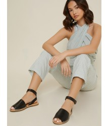 Faux Leather Ankle Strap Peep-Toe Sandals