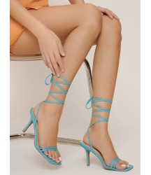 Strappy Toe-Ring Lace-Up Square Toe Stiletto Heels