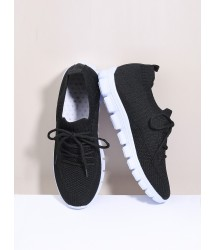 Minimalist Lace Up Decor Knit Sneakers